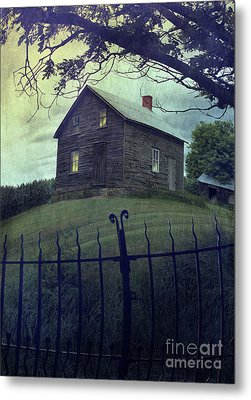 Haunted House On A Hill With Grunge Look Metal Print