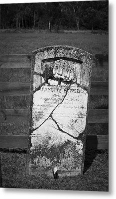 Headstone Of Lafayette Meeks Metal Print by Teresa Mucha