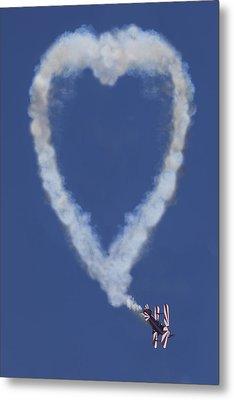 Heart Shape Smoke And Plane Metal Print by Garry Gay