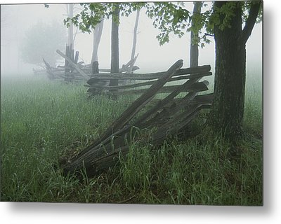 Heavy Fog Hangs Over Split Rail Fences Metal Print by Stephen St. John