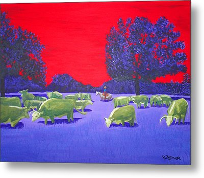 Hereford Herd Metal Print by Randall Weidner