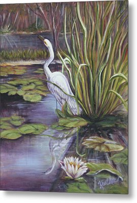 Heron Standing Watch Metal Print