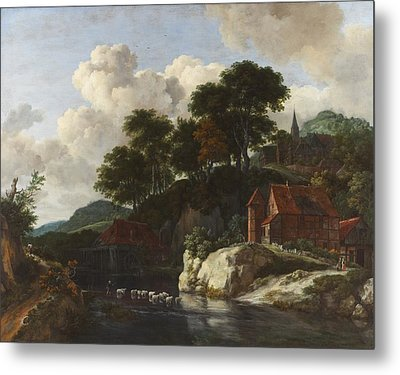 Hilly Landscape With A Watermill Metal Print