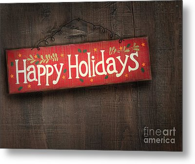 Holiday Sign On Distressed Wood Wall Metal Print by Sandra Cunningham