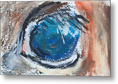 Metal Print featuring the pastel Horse Eye by Jim  Arnold