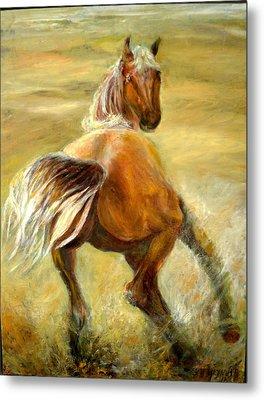 Horse In Field Metal Print