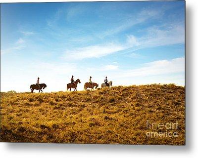 Horseback Riding Metal Print by Carlos Caetano