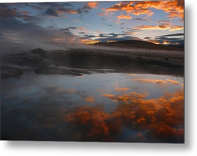 Hot Springs In The Bolivian Altiplano. Metal Print by Eric Bauer