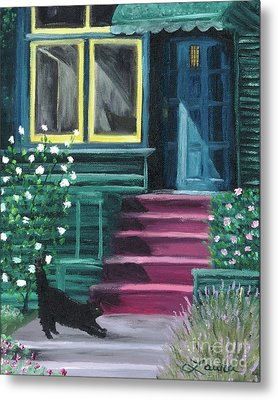 House With A Blue Door  Metal Print by Laura Iverson