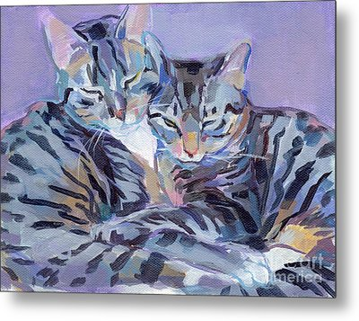 Hugs Purrs And Stripes Metal Print
