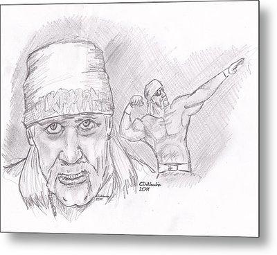 Metal Print featuring the drawing Hulk Hogan- Immortal by Chris  DelVecchio