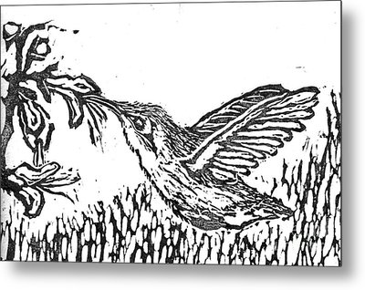 Hummingbird  Block Print Metal Print by Ellen Miffitt