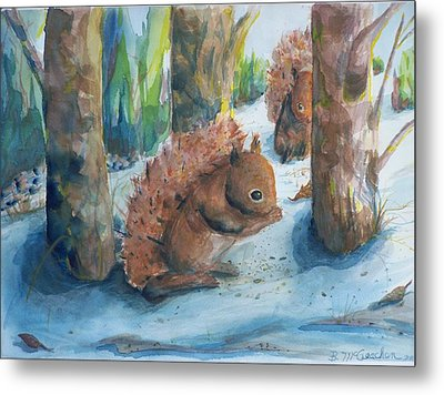 Hungry Red Squirrels Metal Print by Barbara McGeachen