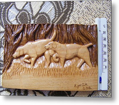Hunting Dogs-wood Carving Relief And Pyrography Metal Print by Egri George-Christian