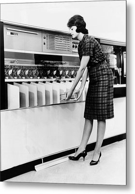 Ibm 1419 Magnetic Character Reader Read Metal Print by Everett
