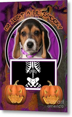 I'm Just A Lil' Spooky Beagle Puppy Metal Print by Renae Laughner