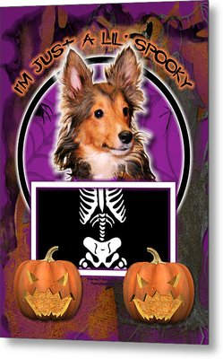 I'm Just A Lil' Spooky Sheltie Puppy Metal Print by Renae Laughner