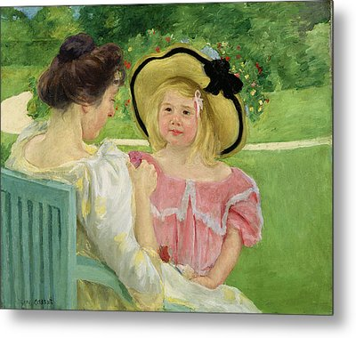In The Garden Metal Print by Mary Stevenson Cassatt