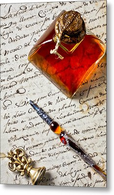 Ink Bottle And Pen  Metal Print by Garry Gay