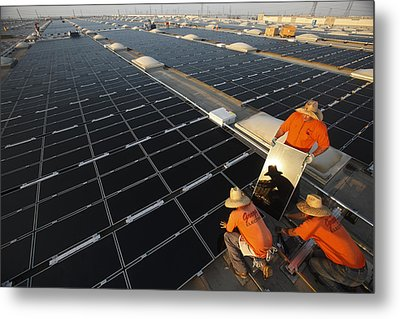Installing Photovoltaic Panels Metal Print by Michael Melford