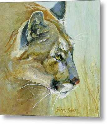 Metal Print featuring the painting Intense Cougar by Bonnie Rinier