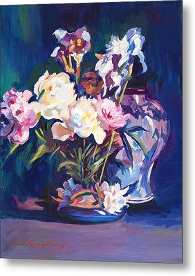 Iris Peonies And Chinese Vase Metal Print