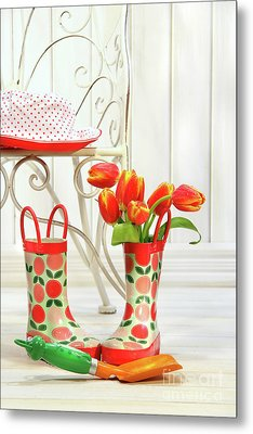 Iron Chair With Little Rain Boots And Tulips  Metal Print by Sandra Cunningham