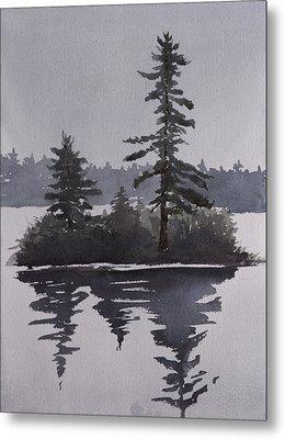 Island Reflecting In A Lake Metal Print by Debbie Homewood