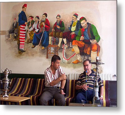 Metal Print featuring the photograph Istanbul Smokers by Lou Ann Bagnall