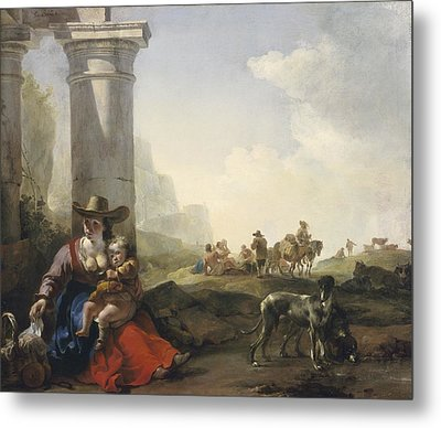 Italian Peasants Among Ruins Metal Print by Jan Weenix