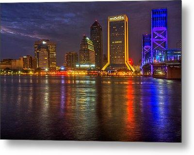 Jacksonville At Night Metal Print by Debra and Dave Vanderlaan