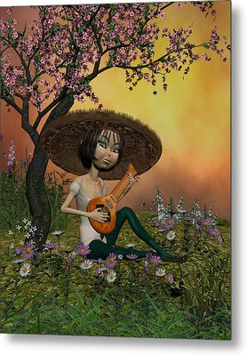 Japanese Musical Morning In The Garden Metal Print by John Junek