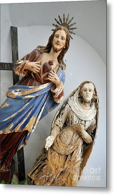 Jesus Christ And Saint Statues In Church Metal Print