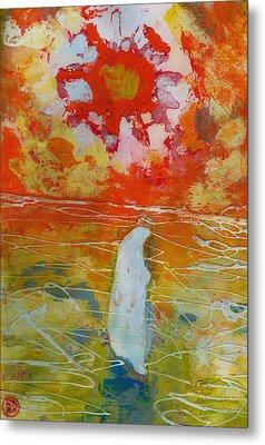 Jesus Walking On The Water Comtemplating Metal Print by Daniel Bonnell