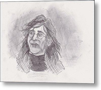 Metal Print featuring the drawing John Lennon- Legend by Chris  DelVecchio