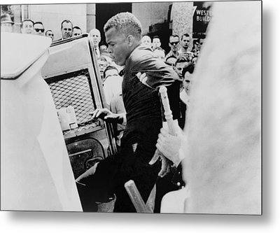 John Lewis Being Ushered Into A Police Metal Print by Everett