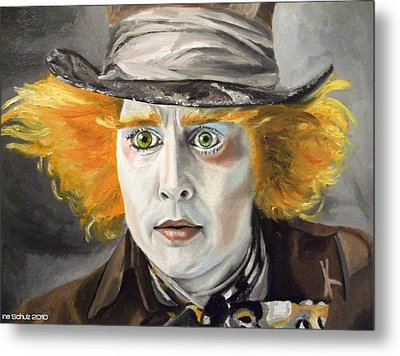 Johnny Depp - The Mad Hatter Metal Print by Ina Schulz