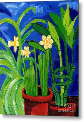 Jonquils And Bamboo Plant Metal Print