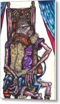 King Crabclaw And His Blue Dachshund Metal Print by Al Goldfarb