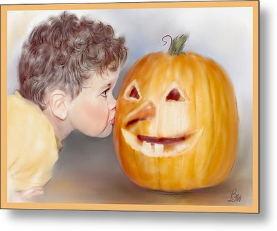 Metal Print featuring the painting Kissy Face by Bonnie Willis