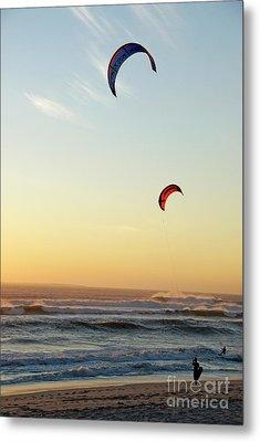Kite Surfers On Beach At Sunset Metal Print by Sami Sarkis