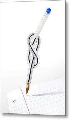 Knot Pen Metal Print