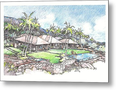Metal Print featuring the drawing Kukio Home by Andrew Drozdowicz