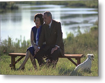 Lady Bird And President Johnson Sit Metal Print by Everett