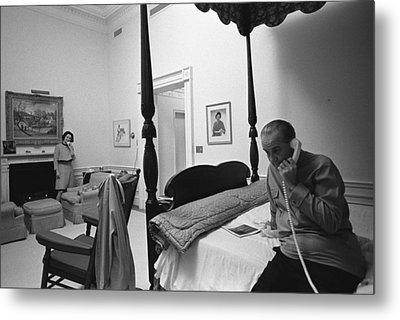 Lady Bird And President Johnson Taking Metal Print by Everett