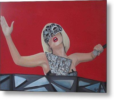 Lady Gaga Poker Face Metal Print by Kristin Wetzel