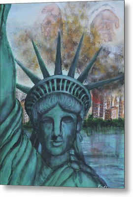 Lady Liberty Cries Metal Print
