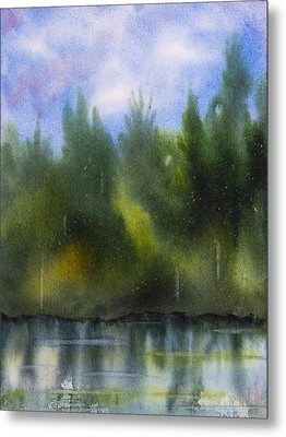 Lake Reflecting Trees Metal Print by Debbie Homewood