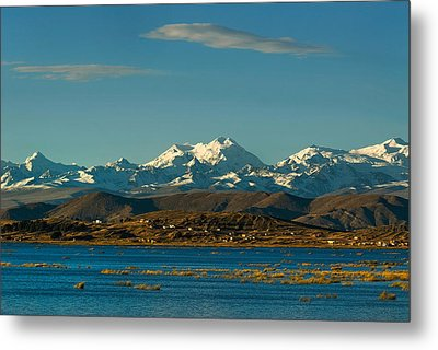 Lake Titicaca And The Cordillera Real In The Background.republic Of Bolivia. Metal Print by Eric Bauer