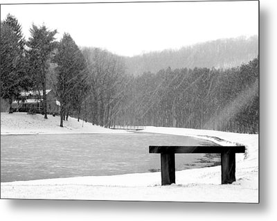 Metal Print featuring the photograph Lakeside Bench by Michelle Joseph-Long